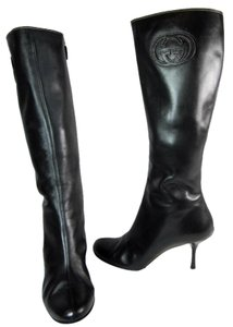 Gucci Black Leather Gg Tall Logo Boots