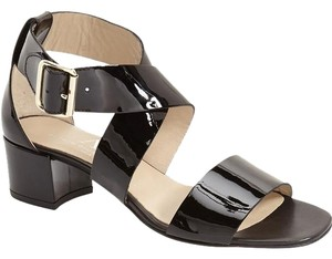 Attilio Giusti Leombruni 6082315 Patent Leather Italian Black Patent Sandals