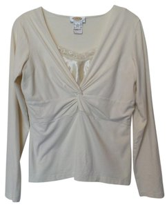 Talbots Layered Knit Sequined Top Off-white