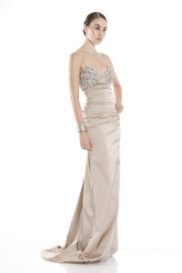 Theia V Neck Ruched Evening Gown With Beaded Bust Wedding Dress