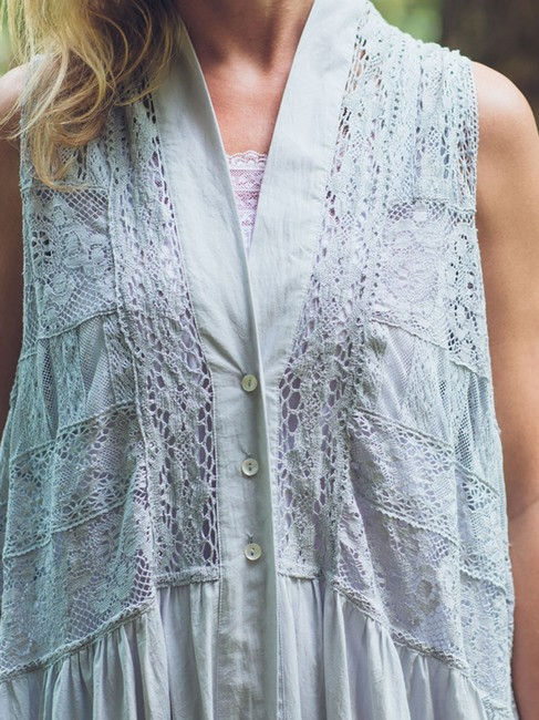 April Cornell Lace Trim Flowy Feminine Vest