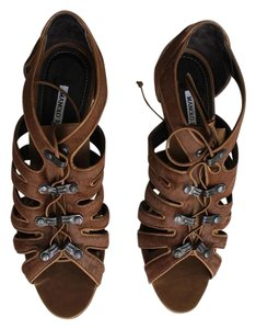 Manolo Blahnik Pony Cut-out Lace-up Tan Pony Sandals
