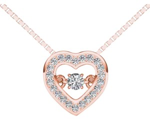 Elizabeth Jewelry 10Kt Rose Gold 0.20 Ct Diamond Heartbeat Pendant