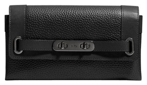 Coach New swagger black leather wallet