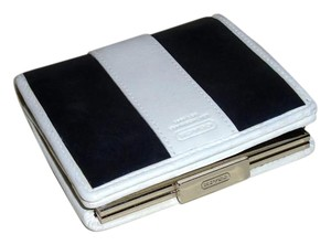 Coach COACH Vintage White/Black Leather French Snap Wallet