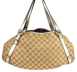 Gucci Abbey Monogram Canvas Tote in Beige Brown Gold