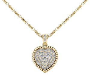 Elizabeth Jewelry 10Kt Yellow Gold 0.25 Ct Diamond Heart Pendant