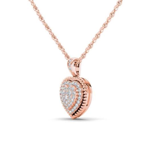 Elizabeth Jewelry 10Kt Rose Gold 0.25 Ct Diamond Heart Pendant