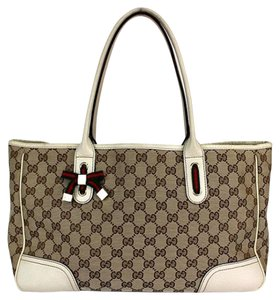 Gucci Princy Gg Bow Tote in Beige White