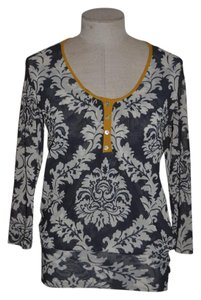 Sweet Pea by Stacy Frati 3/4 Sleeve Mesh Casual Top Gray