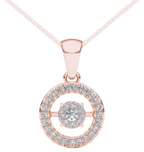Elizabeth Jewelry 10Kt Rose Gold 0.15 Ct Diamond in Motion Pendant