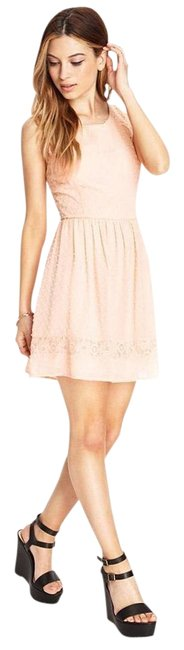 Preload https://img-static.tradesy.com/item/19414396/forever-21-peach-lace-trimmed-swiss-above-knee-night-out-dress-size-8-m-0-2-650-650.jpg