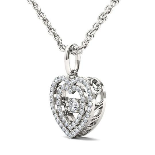 Elizabeth Jewelry 10Kt White Gold 0.18 Ct Diamond Heart in Motion Pendant