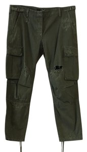 Balmain Olive Distressed Cargo Pants Green