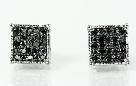 Black Diamond Earrings * Paved Black Diamonds Square Earrings