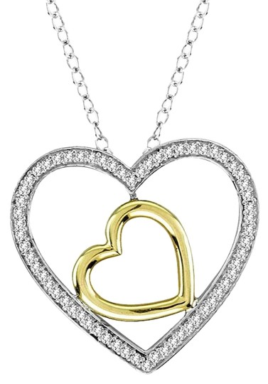 Preload https://img-static.tradesy.com/item/19414546/10kt-white-and-yellow-gold-020-ct-diamond-heart-pendant-necklace-0-1-540-540.jpg