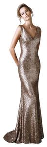 Pronovias Sequins Gold Bronze Long Dress