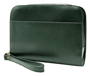 Louis Vuitton Taiga Leather Orsay Pouchette Green Clutch