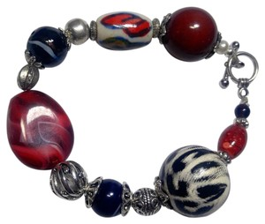 Other New Beaded Bracelet Black Red White Glass Chunky J2877