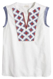 J.Crew Embroidered Free Shipping Sleeveless Top White