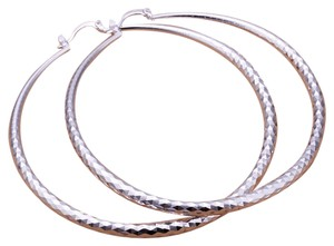 Penny's Fine Jewelry New Sterling Silver Hoops 2.5 inch inner-circumference Hoop Earrings with Diamond cuts for sparkle & twinkle. Great Earrings!