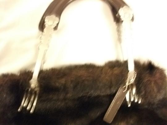 Isabella's Journey Vintage Handmade Faux Fur Tote in brown
