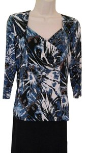 Libra Print Blue Fitted Top Multi