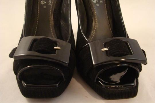 Kalliste Stiletto Peep Toe Italian Buckle Black Pumps