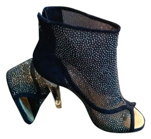 Chanel Rhinestone Dark Mesh Navy blue Boots