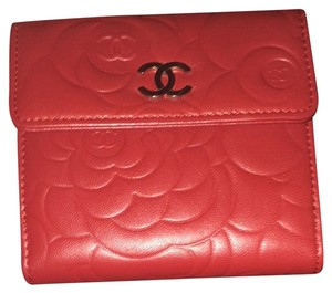 Chanel Chanel Camellia Embossed Red Leather Wallet