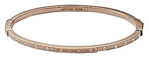 Michael Kors Michael Kors MK Logo Thin Plaque Hinge Bangle Rose Gold Crystal Bangle