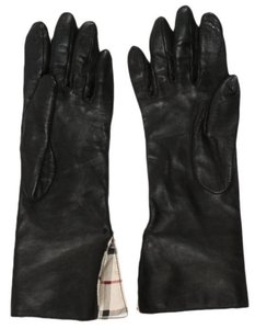Burberry Black leather Burberry Nova Check print gloves Size 7