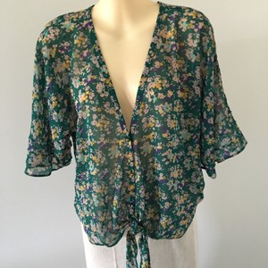 Jessica Simpson Sheer Tie Front Top Floral