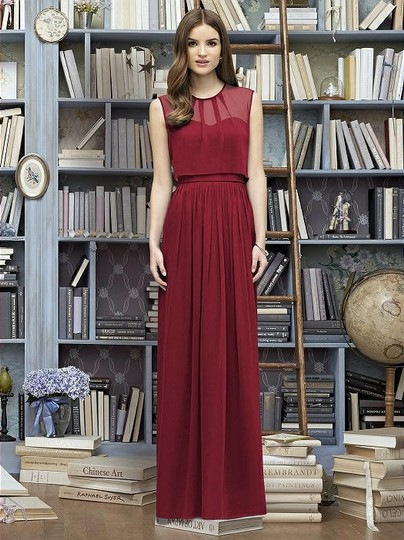 Lela Rose Claret Crinkle Chiffon Lr222 Bridesmaid/Mob Dress Size 14 (L)