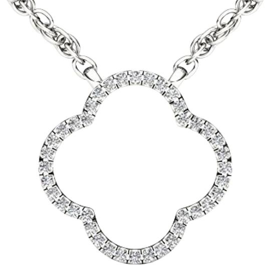 Preload https://img-static.tradesy.com/item/19415498/10kt-white-gold-010-ct-diamond-clover-pendant-necklace-0-1-540-540.jpg