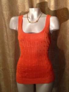 Ralph Lauren Black Label Sweater Silk Top Tangerine