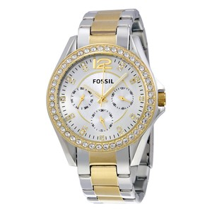 Fossil Fossil Women's Riley Silver and Gold-Tone Watch NWT-MSRP $125.00