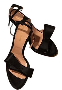 BCBGMAXAZRIA Satin Ankle Strap Black Sandals