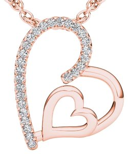 Elizabeth Jewelry 10Kt Rose Gold Diamond Heart Pendant