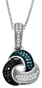 Elizabeth Jewelry Blue Black & White Diamond Love Knot Pendant .925 Sterling Silver