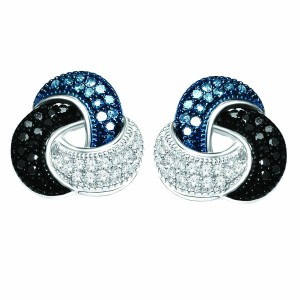 Elizabeth Jewelry Blue Black White Diamond Love Knot Stud Earrings .925 Sterling Silver