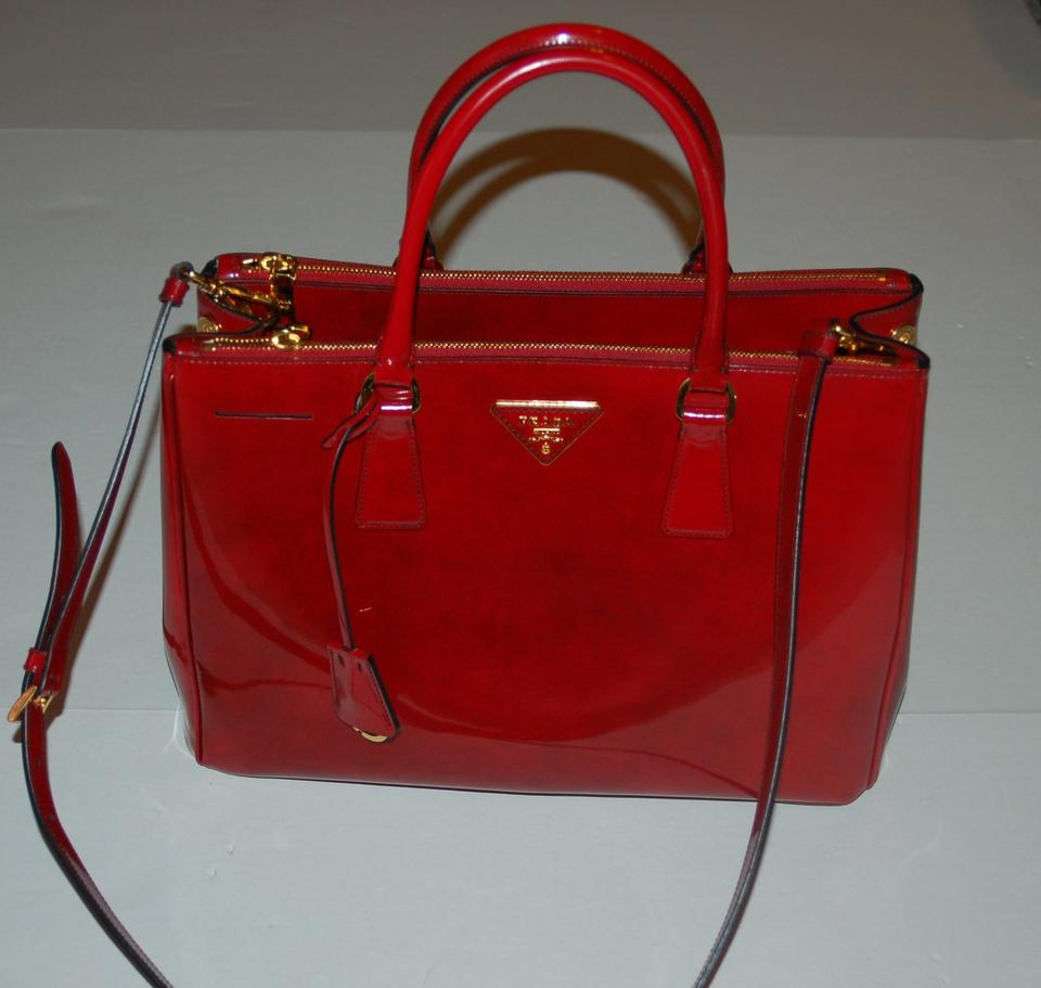 red patent leather prada handbag