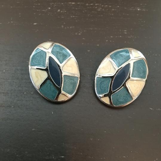 Other Blue Silver Cream Earrings