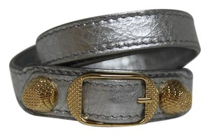 Balenciaga New Balenciaga Triple Wrap Arena Gris Giant Studs Leather Bracelet