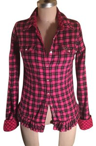 Victoria's Secret Button Down Shirt Pink/black plaid