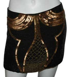 Gryphon Blue Sequins Beaded Mini Mini Skirt BLACK