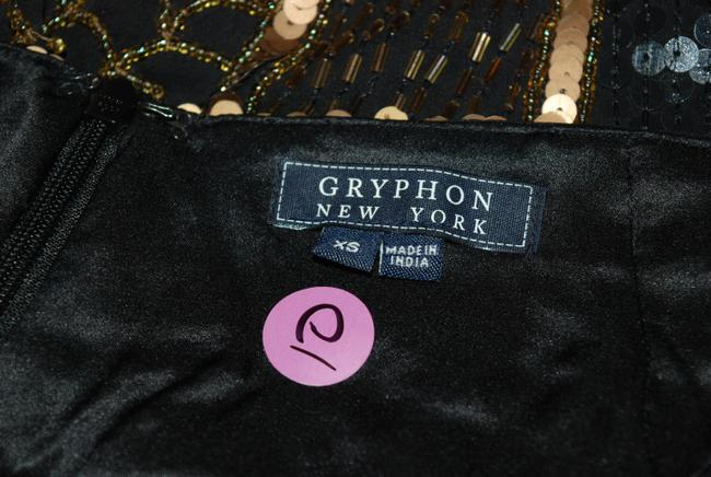 Gryphon Blue Sequins Beaded Mini Skirt BLACK