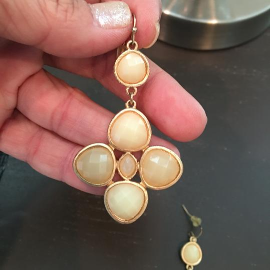 Other Gold Cream Jeweled Earrings