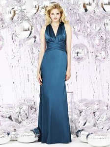 Ocean Blue Stretch Charmeuse 8127 Bridesmaid/Mob Dress Size 10 (M)