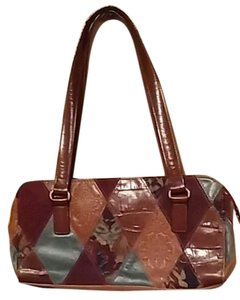 Fossil Monogram Leather Vintage Satchel in brown/green